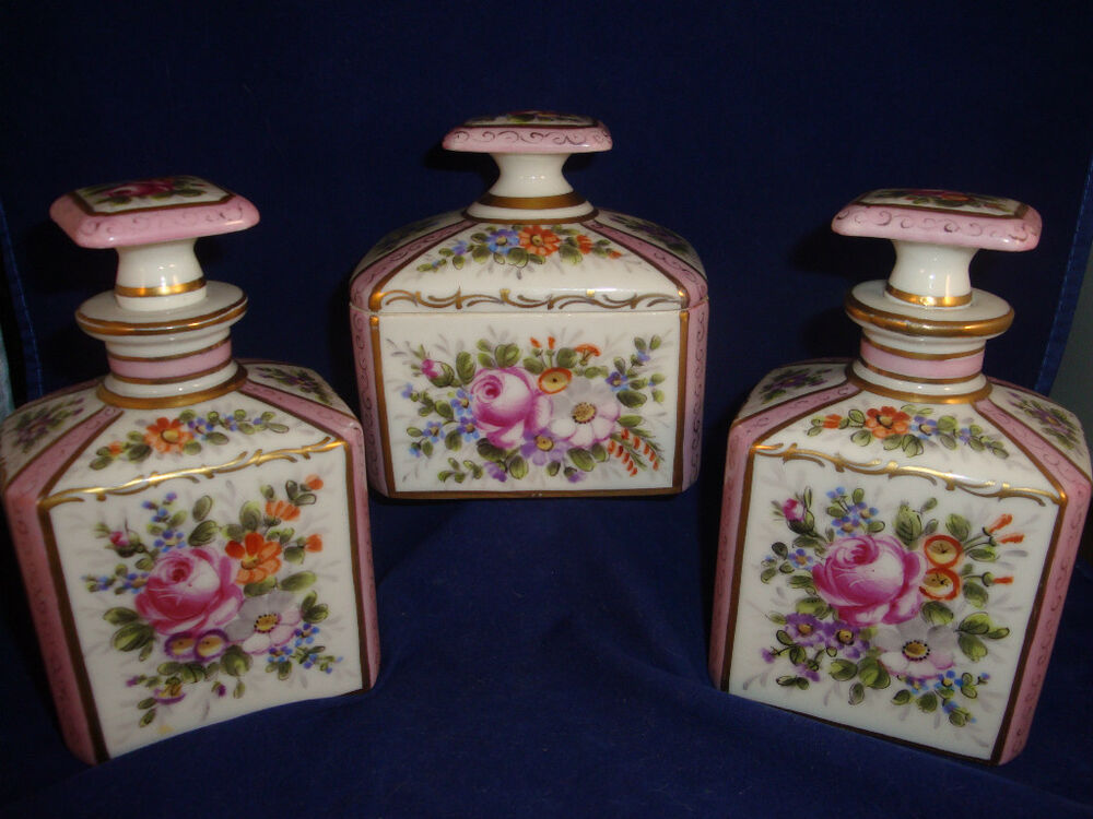 ANTIQUE HAND PAINTED SEVRES VANITY SET FOR OVINGTON NEW YORK  eBay