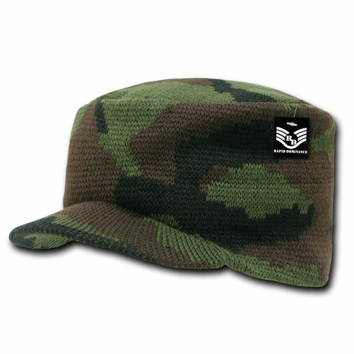 Military Camouflage Camo Flat Top Beanie Gi Jeep Knit
