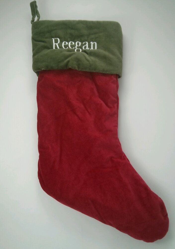 pottery barn red with green cuff velvet christmas stocking. Black Bedroom Furniture Sets. Home Design Ideas