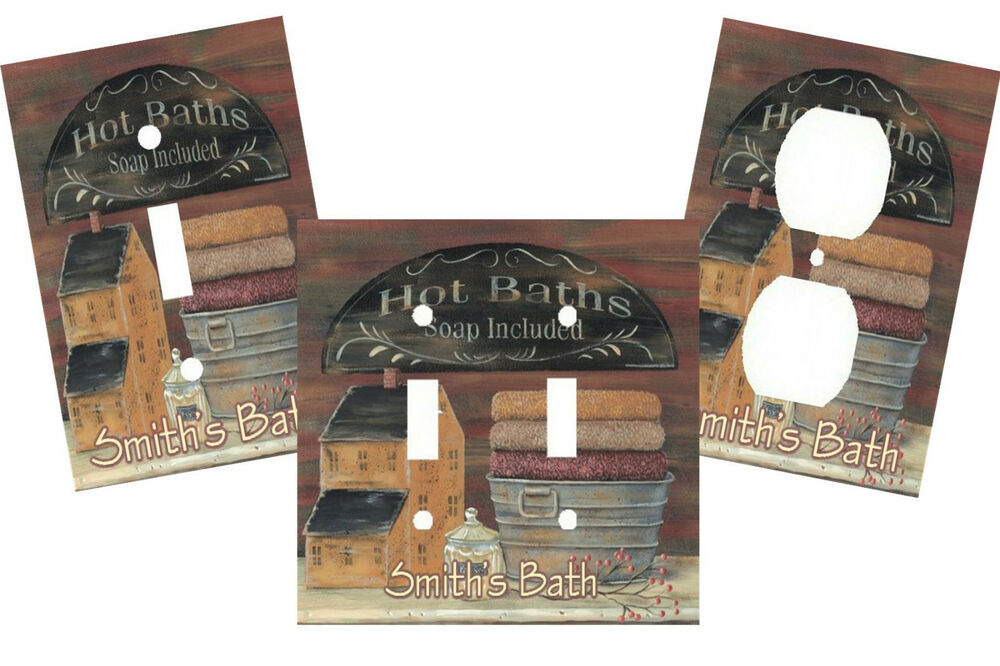 Personalized primitive bath light switch plate cover home for Personalized home decor