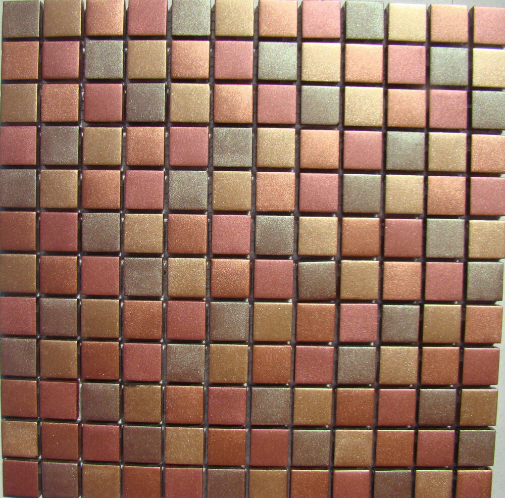 Kitchen Tiles Ebay: CINNAMON MOSAIC GLASS TILE BRONZE COPPER GOLD WALL TILES BACKSPLASH KITCHEN BATH