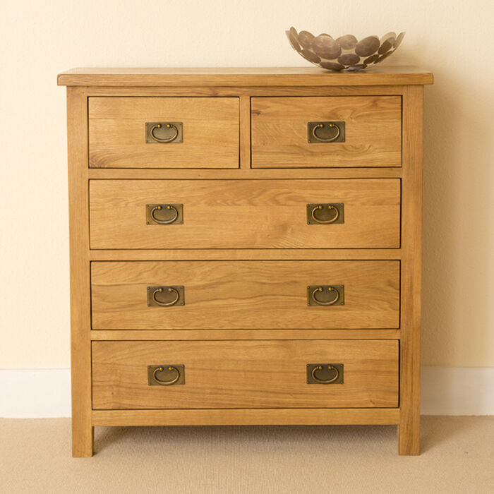 Lanner Oak 2 Over 3 Chest Of Drawers 5 Drawer Rustic