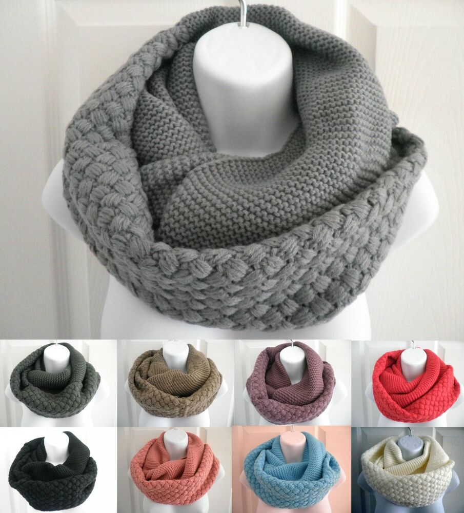 New Women Winter Warm Infinity Circle Cable Knit Cowl Neck ...