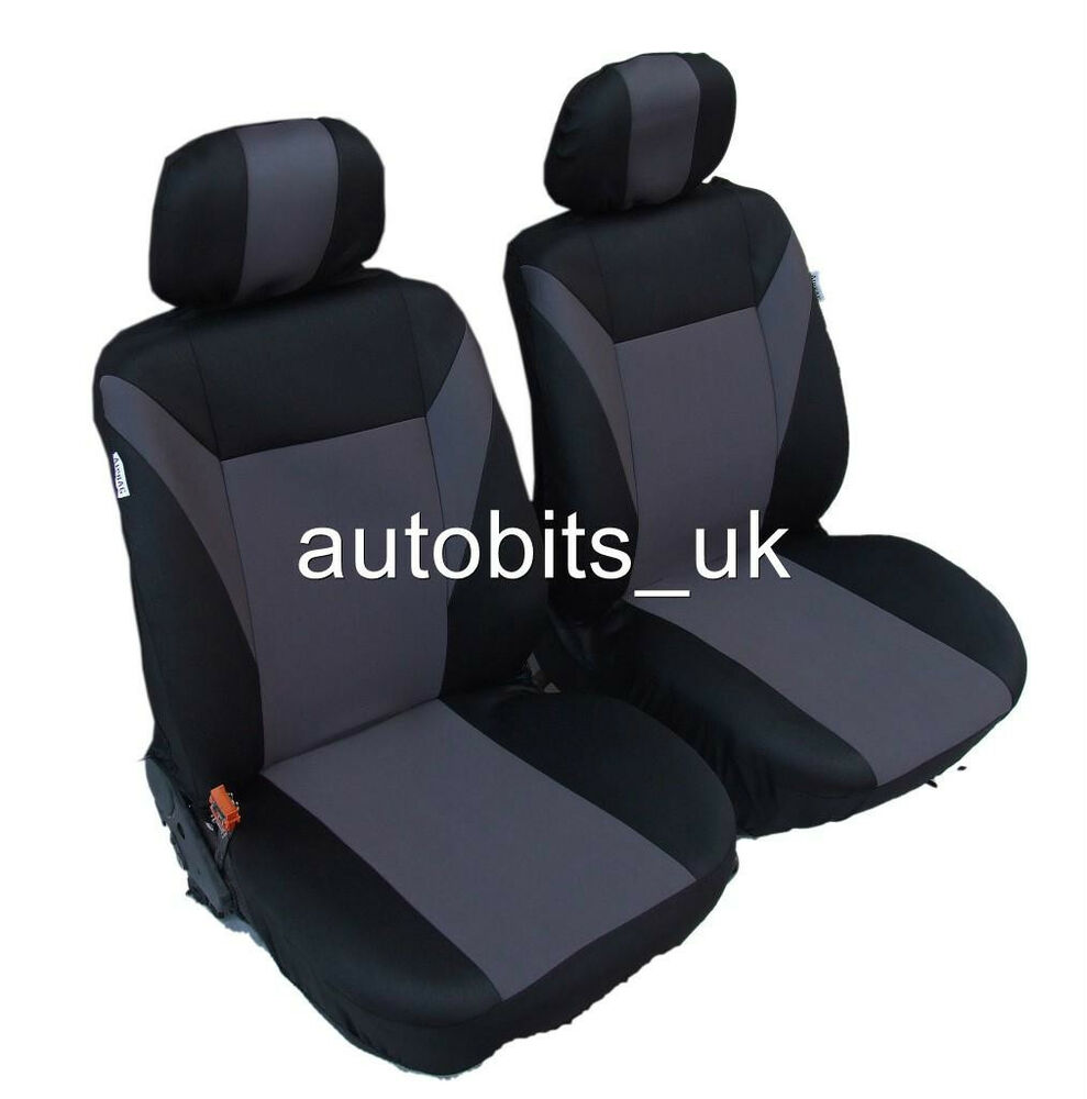 Opel Astra H Interior >> GREY-BLACK FABRIC FRONT SEAT COVERS FOR OPEL VAUXHALL CORSA C D MERIVA ASTRA G H | eBay