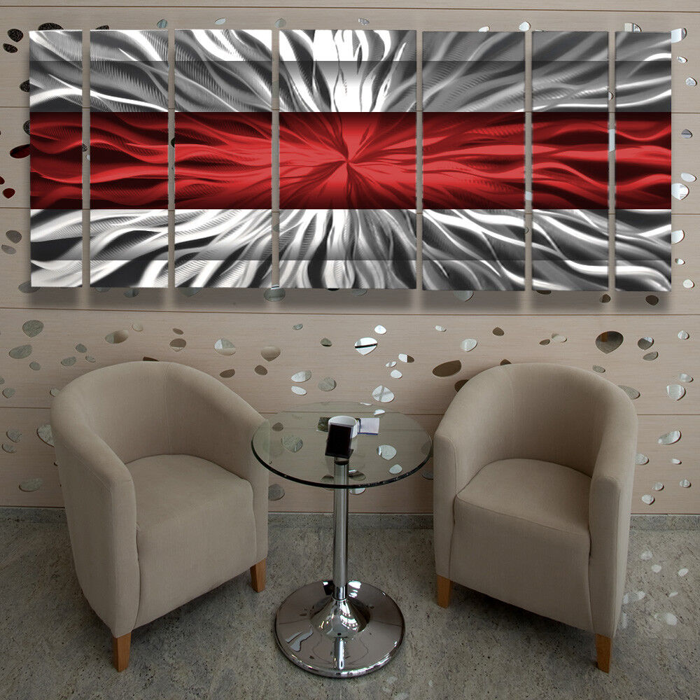 Metal wall art modern contemporary abstract sculpture red painting home decor lg ebay - Contemporary wall art decor ...