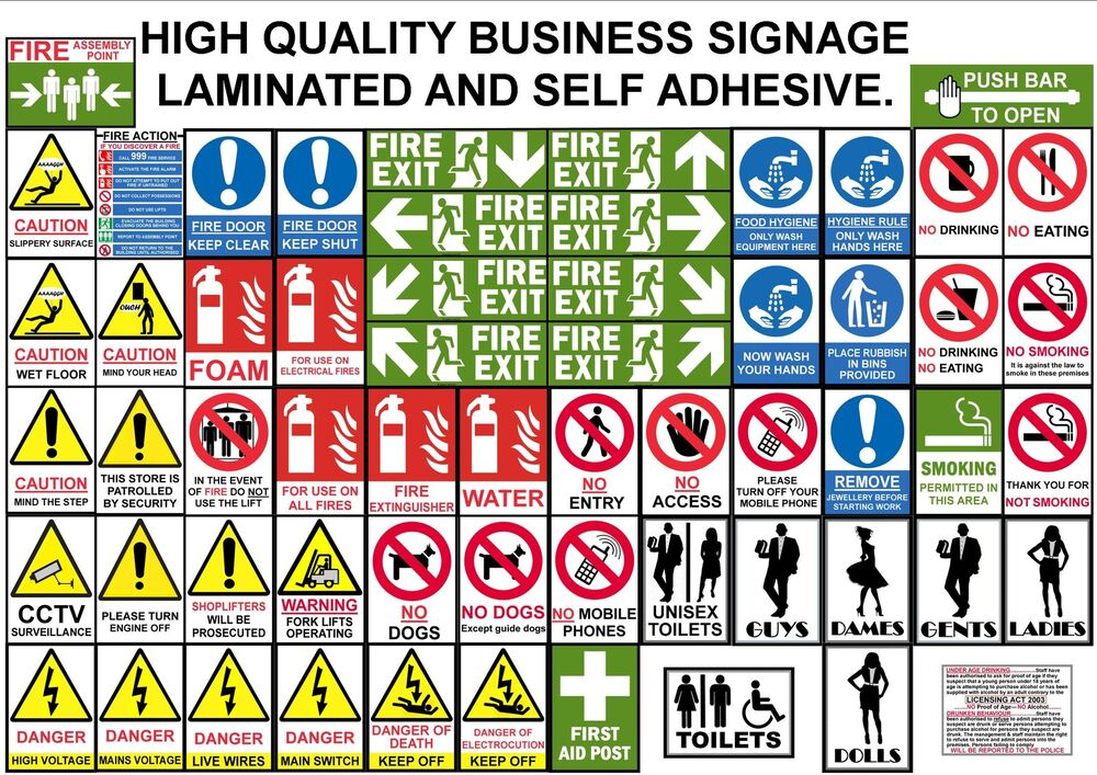 HEALTH SAFETY ELECTRIC FIRE TOILET SIGN SHOP FACTORY ...