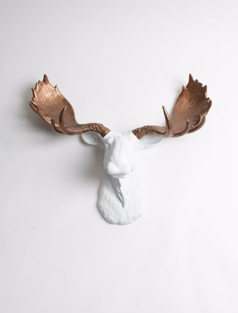 The boston large white faux moose head with bronze antlers wall mount taxidermy ebay - Fake moose head mount ...