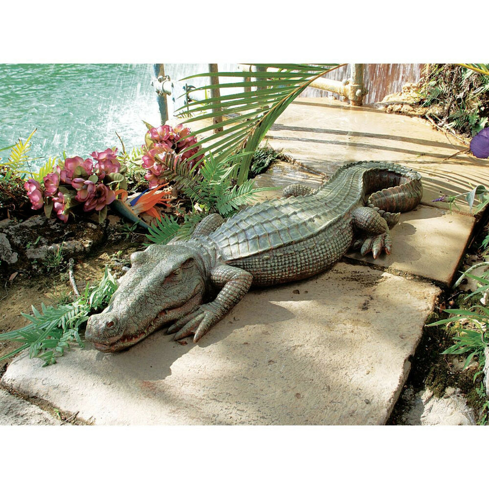 crocodile statue alligator gator realistic florida swamp lawn pool sculpture art ebay. Black Bedroom Furniture Sets. Home Design Ideas