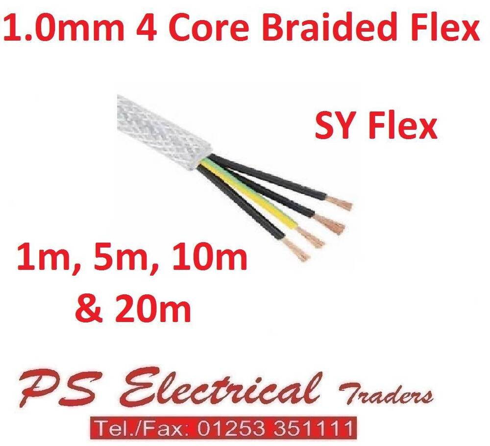 Flexible Armored Cable : Sy flexible mm core braided armoured cable flex ebay