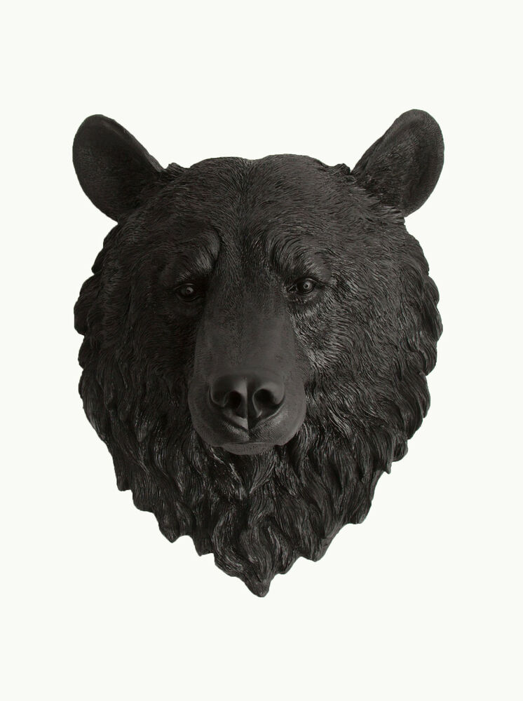 The Nordi Large Black Faux Bear Head Wall Mount Taxidermy