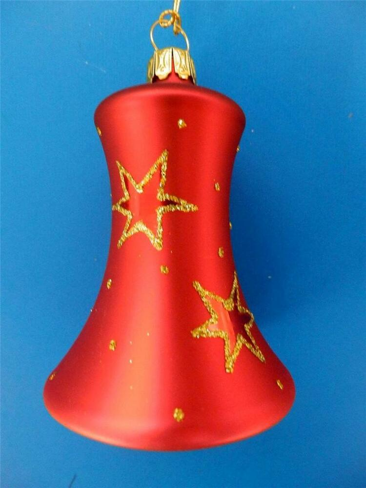 Red Gold Star Bell Glocke German Blown Glass Christmas