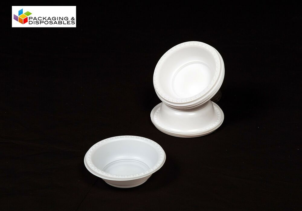 50 x white disposable strong plastic bowls ebay for How strong is acrylic glass