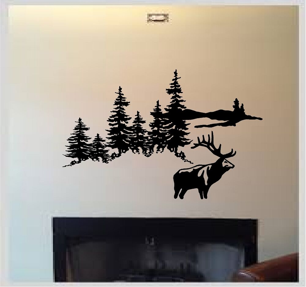 Deer elk hunting mountain scene outdoors vinyl wall decal for Deer wall mural