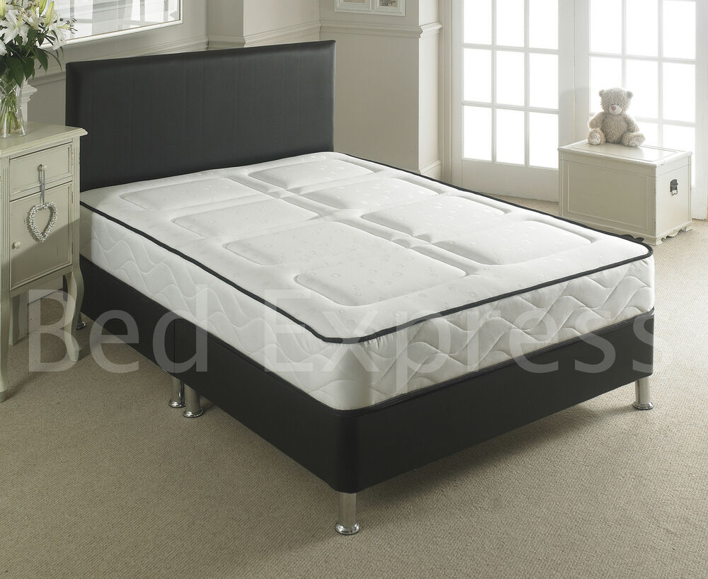 Leather Bed Small Double Black Brown White With Memory Foam Orthopaedic Mattress Ebay