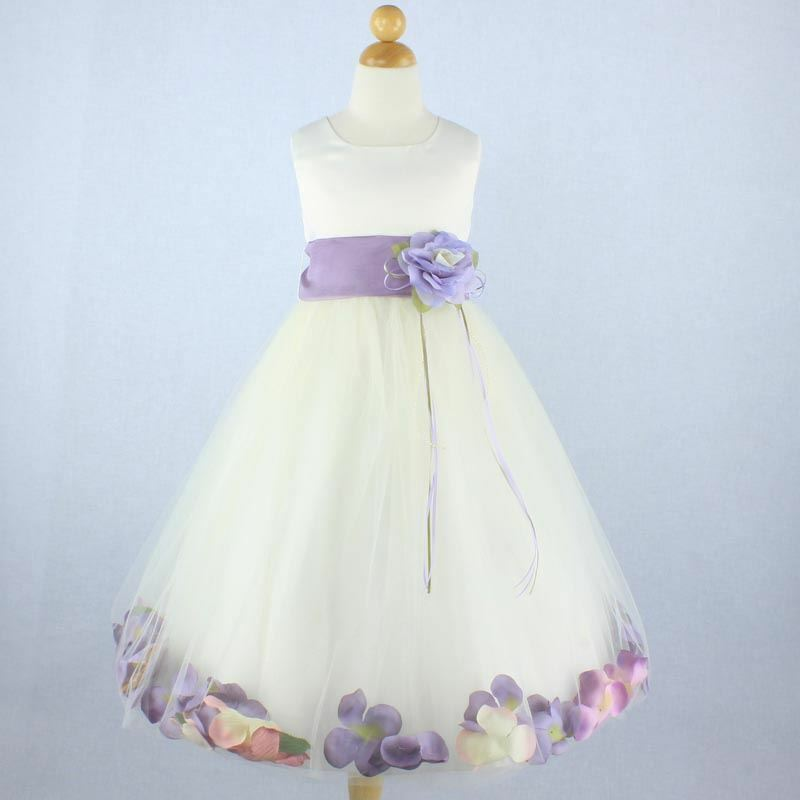 Ivory Purple Flower Girl Dress Petals Formal Recital Prom Birthday