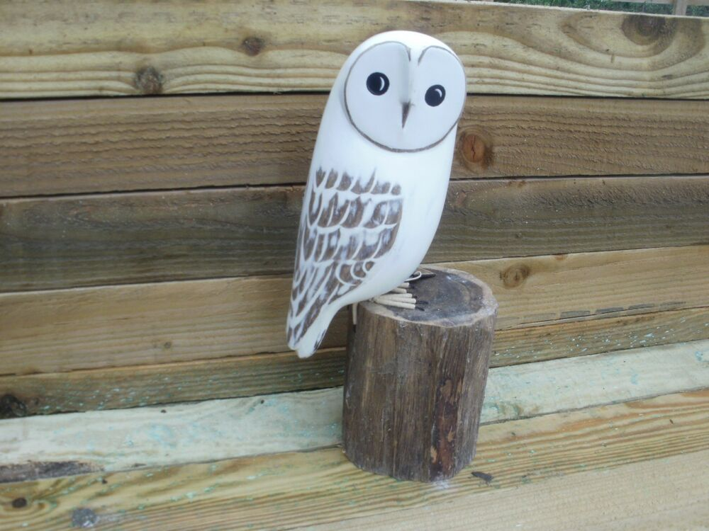 Wood carving of barn owl ideal for bird watcher watching