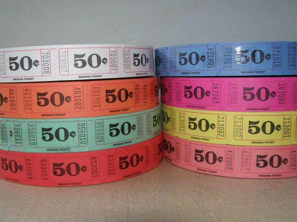 50 cents single roll tickets 2000 tickets per roll ebay. Black Bedroom Furniture Sets. Home Design Ideas
