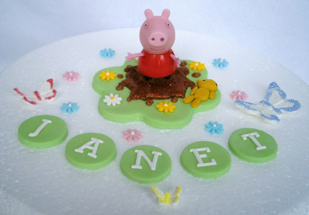 Edible peppa pig cake topper decoration peppa non edible for How to make edible cake decorations at home