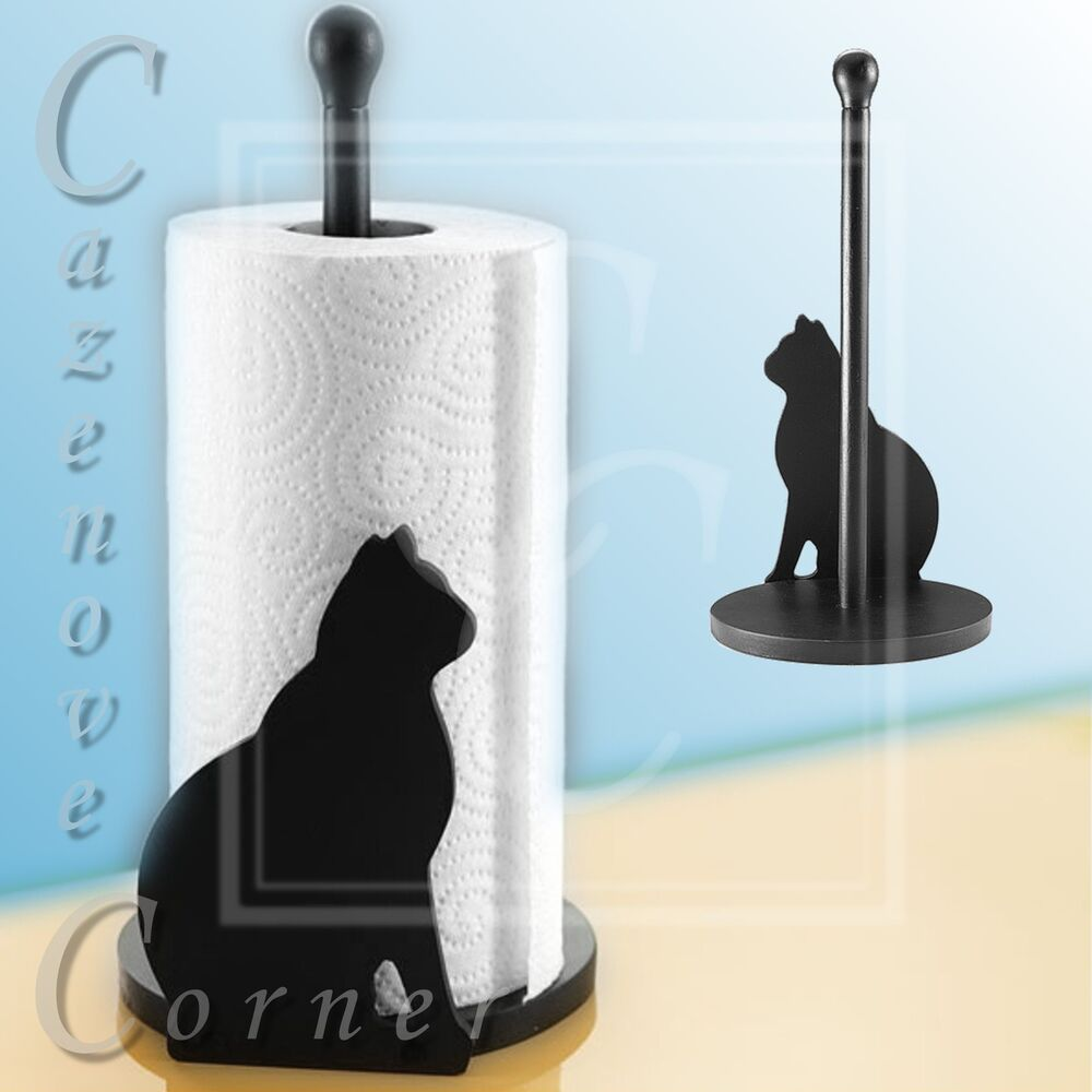 paper towel holder kitchen roll stand paper towel dispenser cat design roll ebay. Black Bedroom Furniture Sets. Home Design Ideas