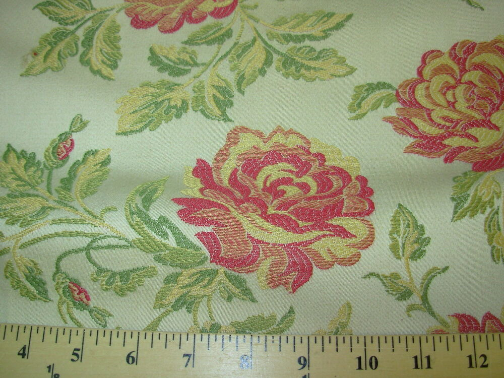 Bty flowers floral elegant embroidered upholstery fabric