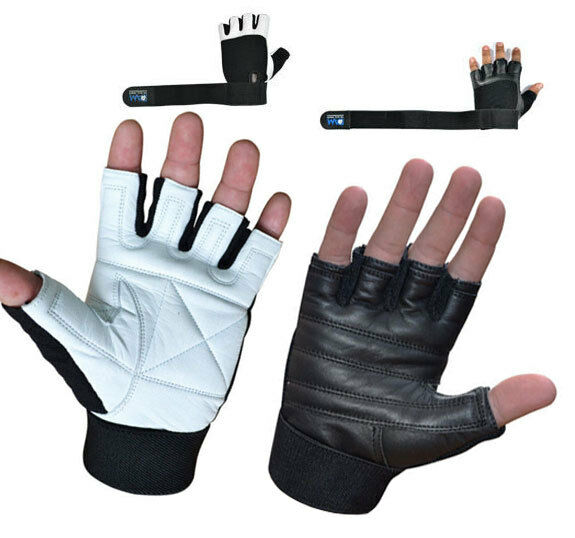 Weight Lifting Gloves Leather Fitness Gym Training Workout: DAM GYM GLOVES WEIGHT LIFTING LEATHER WORKOUT WRIST