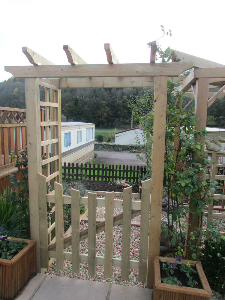 Robust Wooden Timber Garden Arch Entrance Structure with gate amp