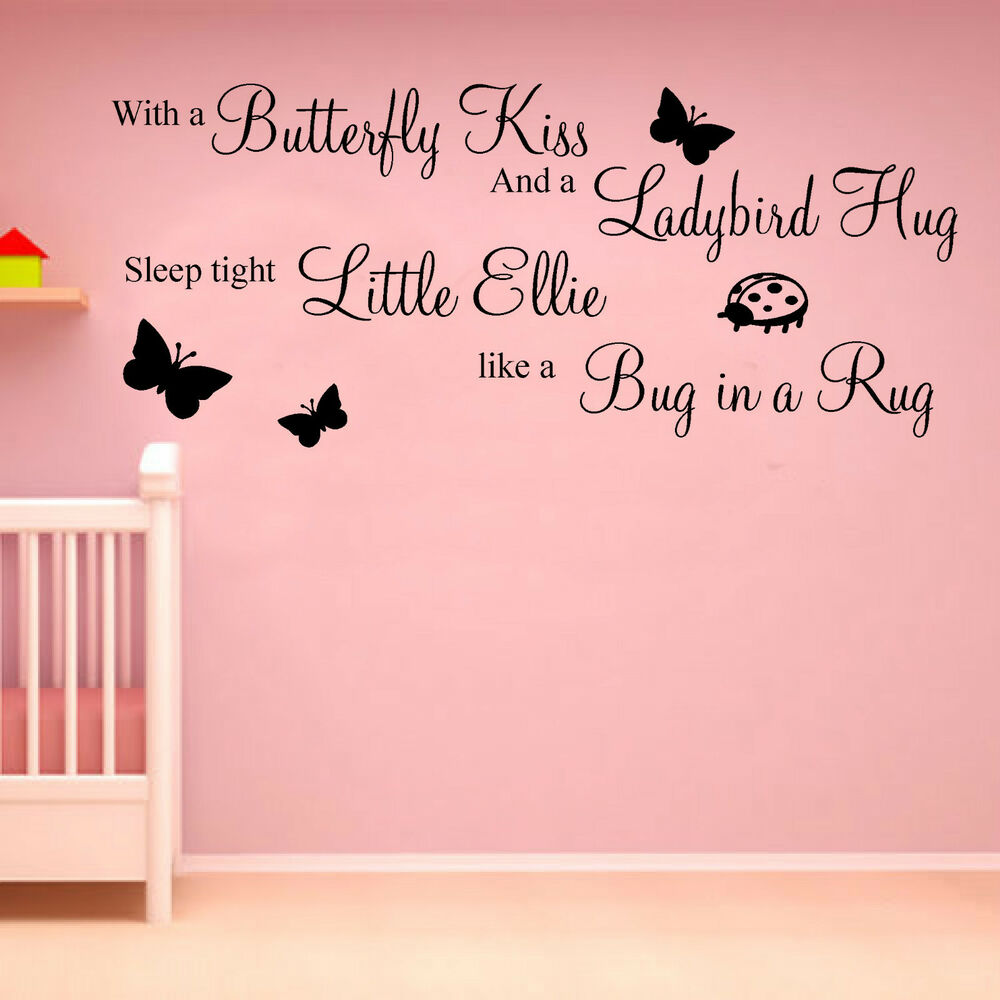 Girls bedroom wall art stickers quotes personalised name for Home decor quotes on wall