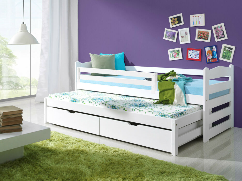 white guest bed with drawers 1