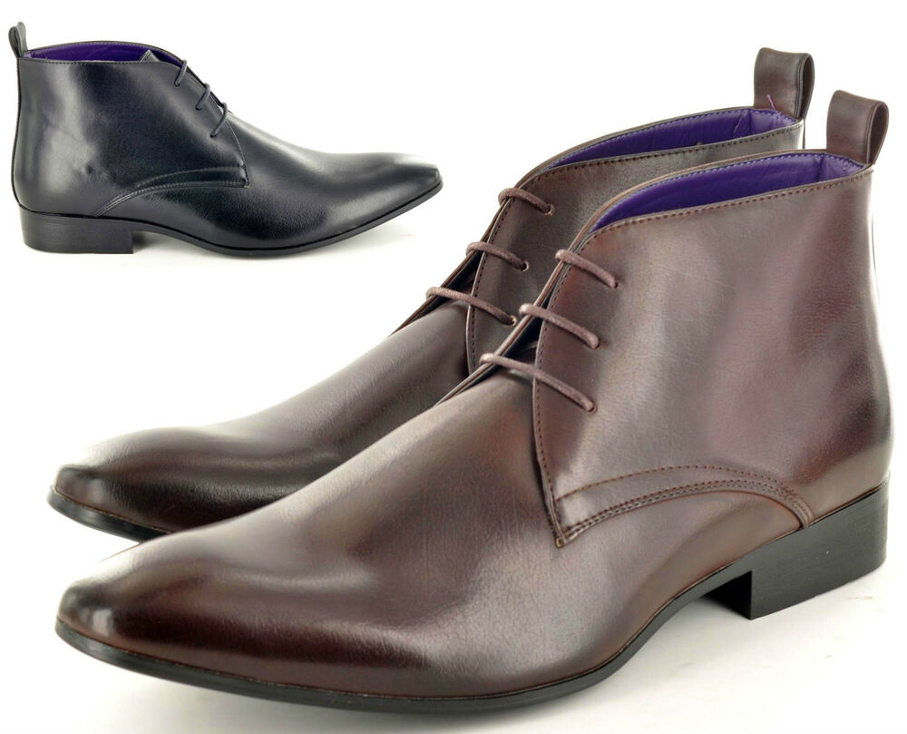 mens italian style leather lined chelsea ankle pointed toe