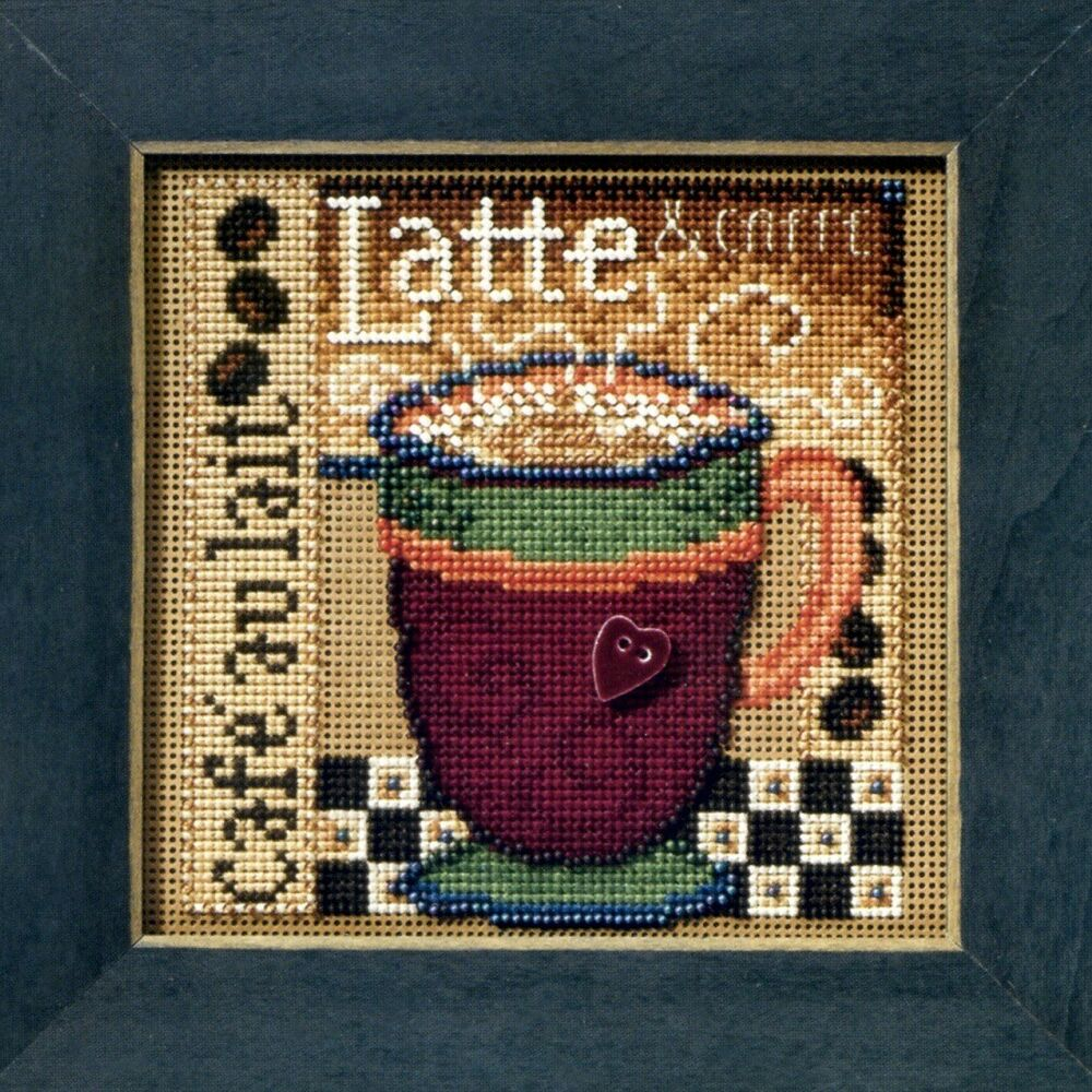 latte beaded cross stitch kit mill hill 2008 buttons