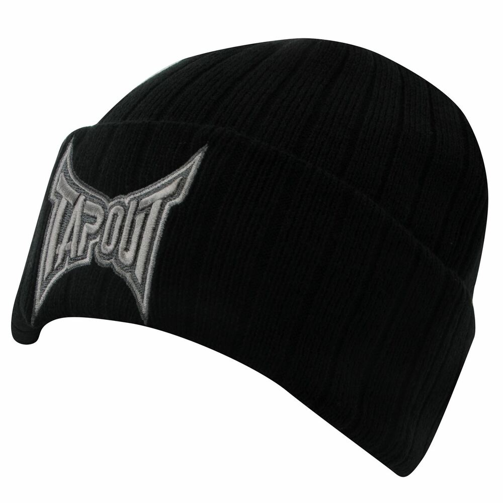 tapout mens black cuff knit beanie hat bnwt new mma ufc