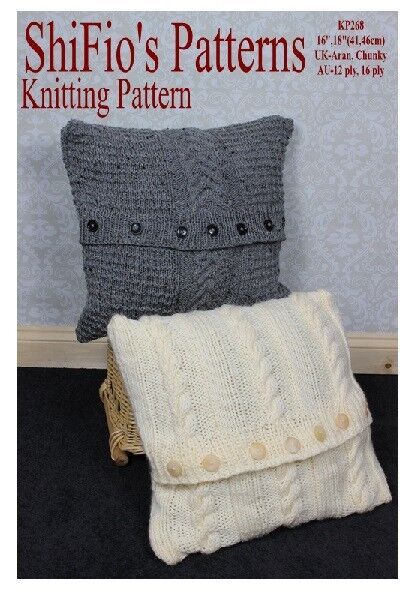 Knitted Infinity Scarves Patterns : KNITTING PATTERN for CHUNKY & ARAN CUSHION COVERS # 268 by ShiFios P...