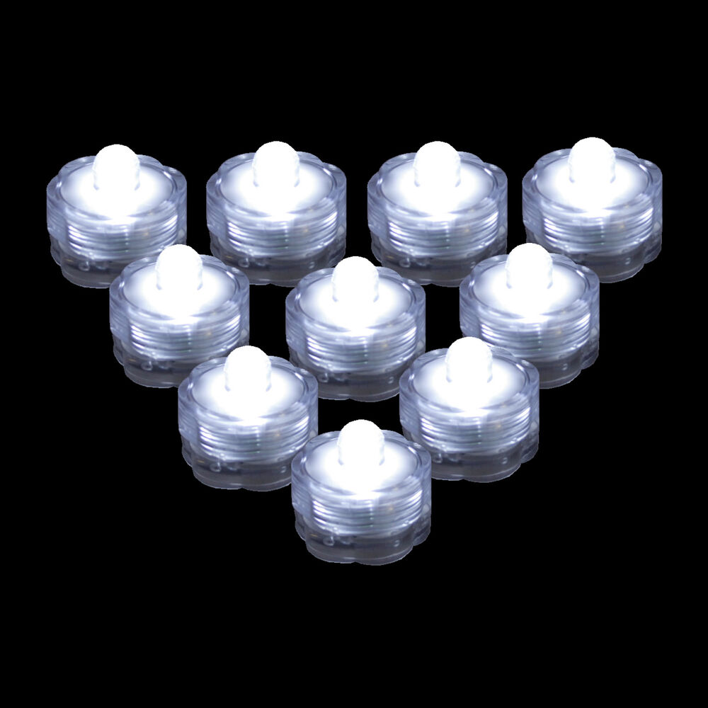 Qty 10 White Led Submersible Underwater Tea Lights