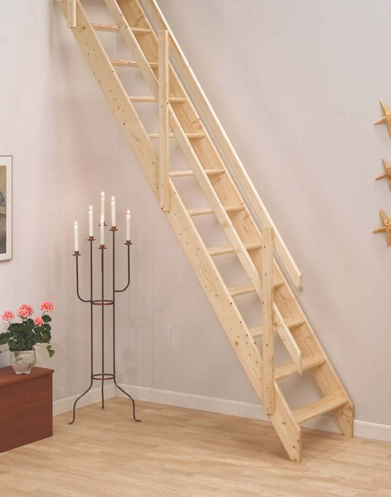 Lisbon Wooden Space Saver Staircase Kit Loft Stair