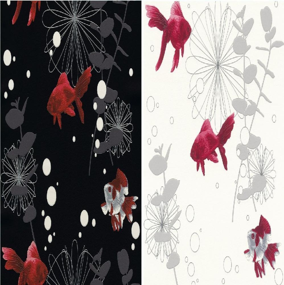 New luxury rasch red fish textured embossed kitchen for Textured wallpaper for bathroom