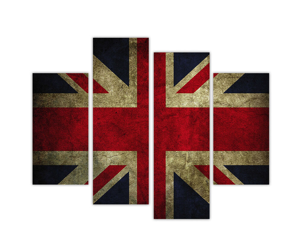Wall art large canvas prints retro union jack flag 4 panel for Large panel wall art