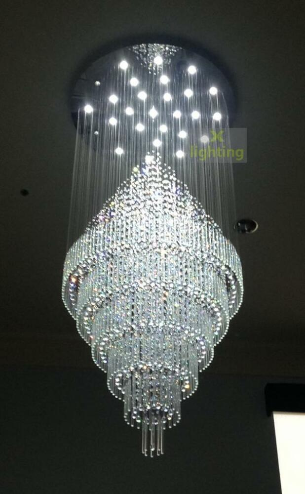 W48 xh9 39 modern large crystal pendant light ceiling lamp for Led deckenleuchte modern