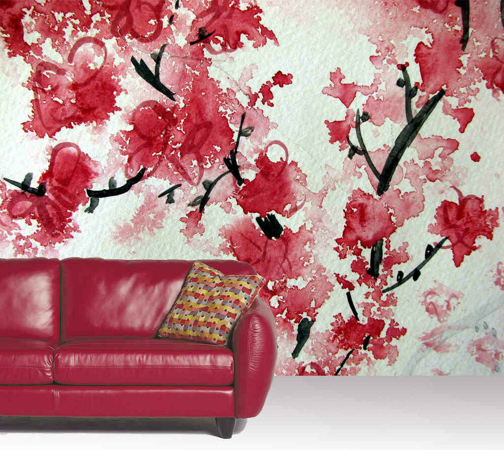 Cherry Blossom Aquarelle Wall Mural 10 5 Wide By 8 High Ebay