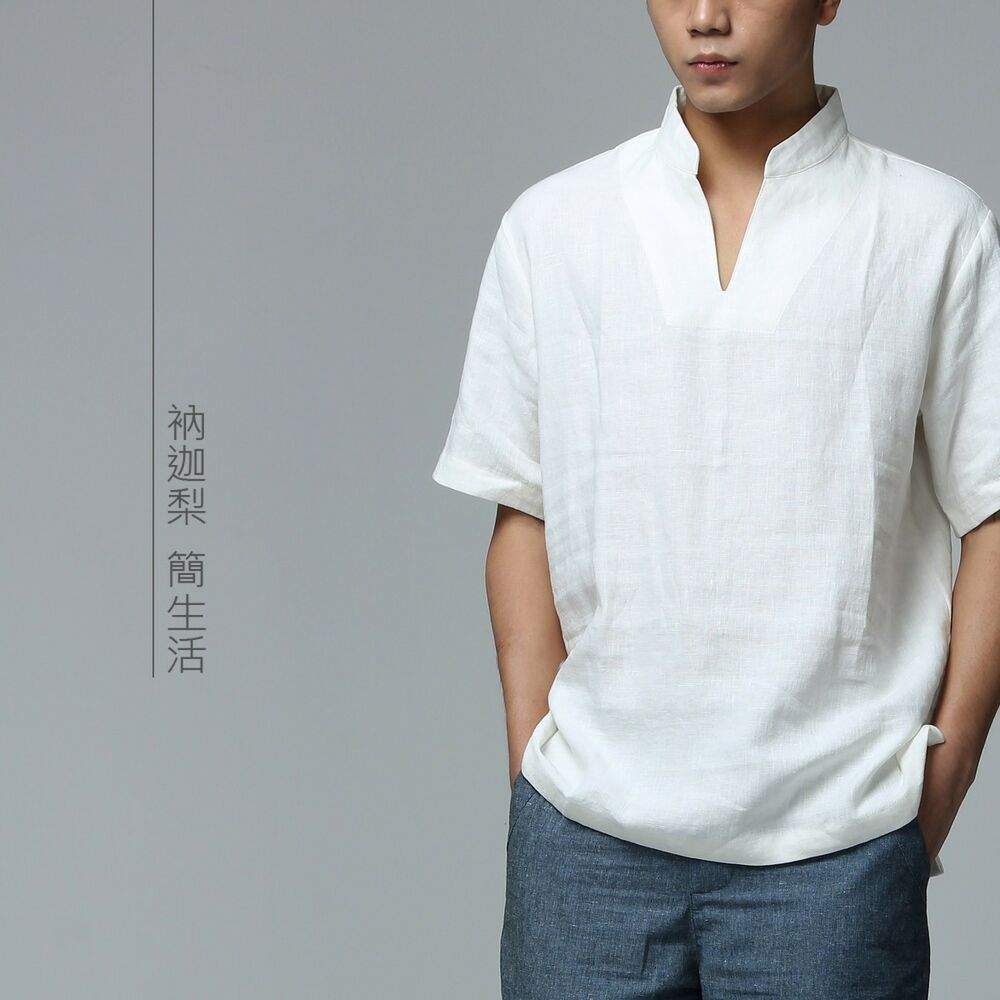 Mens casual shirt short sleeve linen white chinese for In style mens shirts