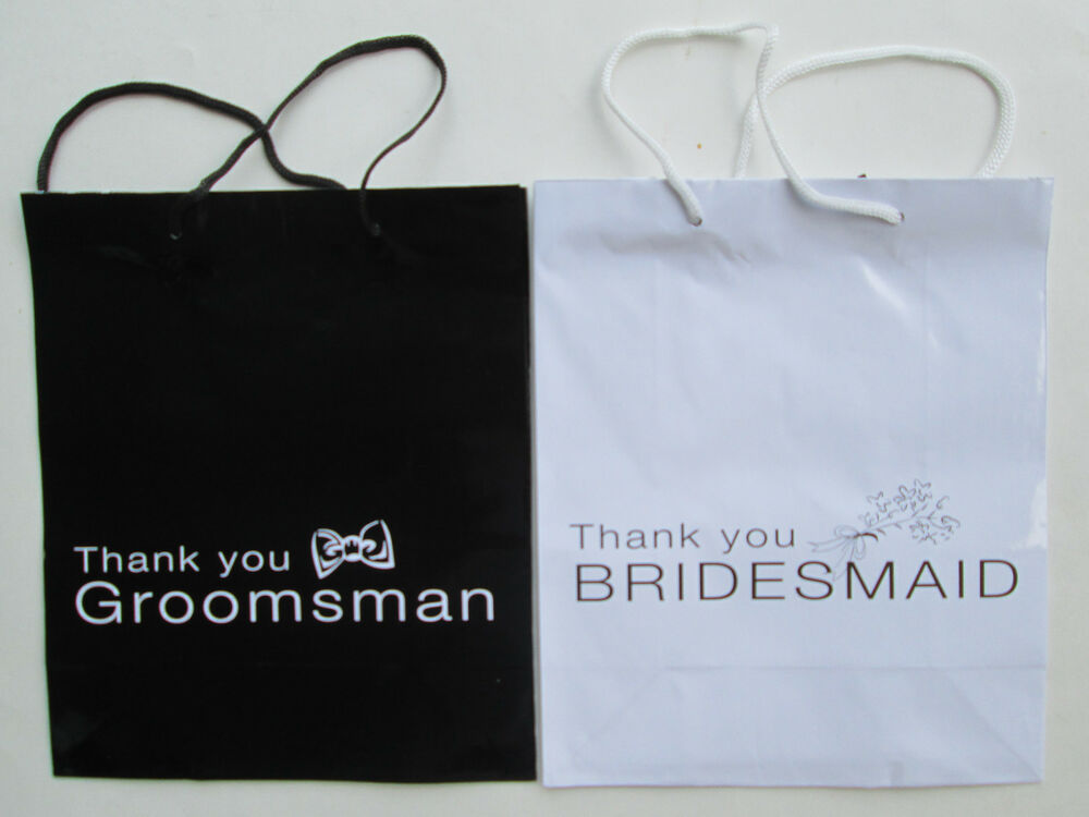 Wedding Gift Bags Bridesmaids : Bridesmaid OR Groomsman Wedding Gift Bags Bridal Party Black White Mr ...