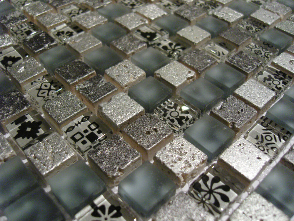 glasmosaik mosaik fliesen klarglas metall effekt 3d silber grau matt 1 matte 1 5 ebay. Black Bedroom Furniture Sets. Home Design Ideas