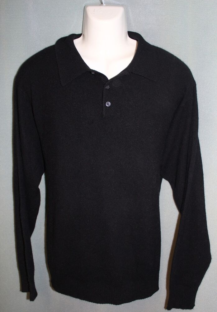 Lanesboro 100 cashmere mens black collared sweater xl for Mens sweater collared shirt
