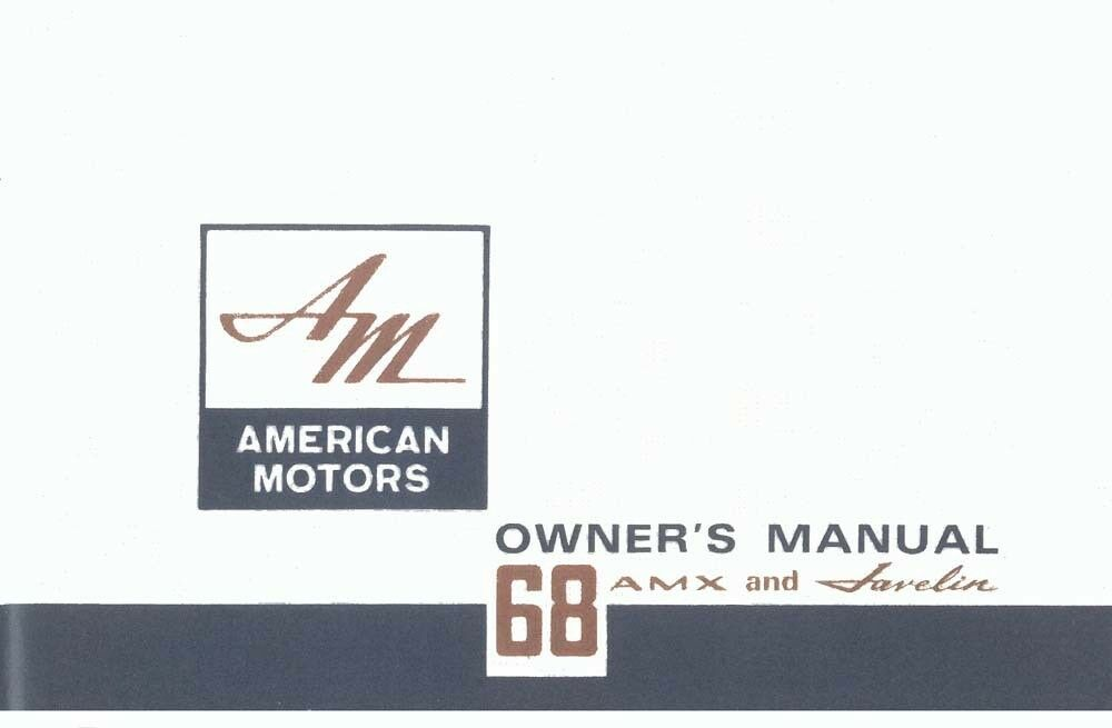 1968 amc amx javelin owners manual user guide reference