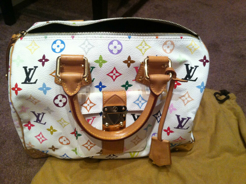 authentic louis vuitton murakami white multicolor speedy 30