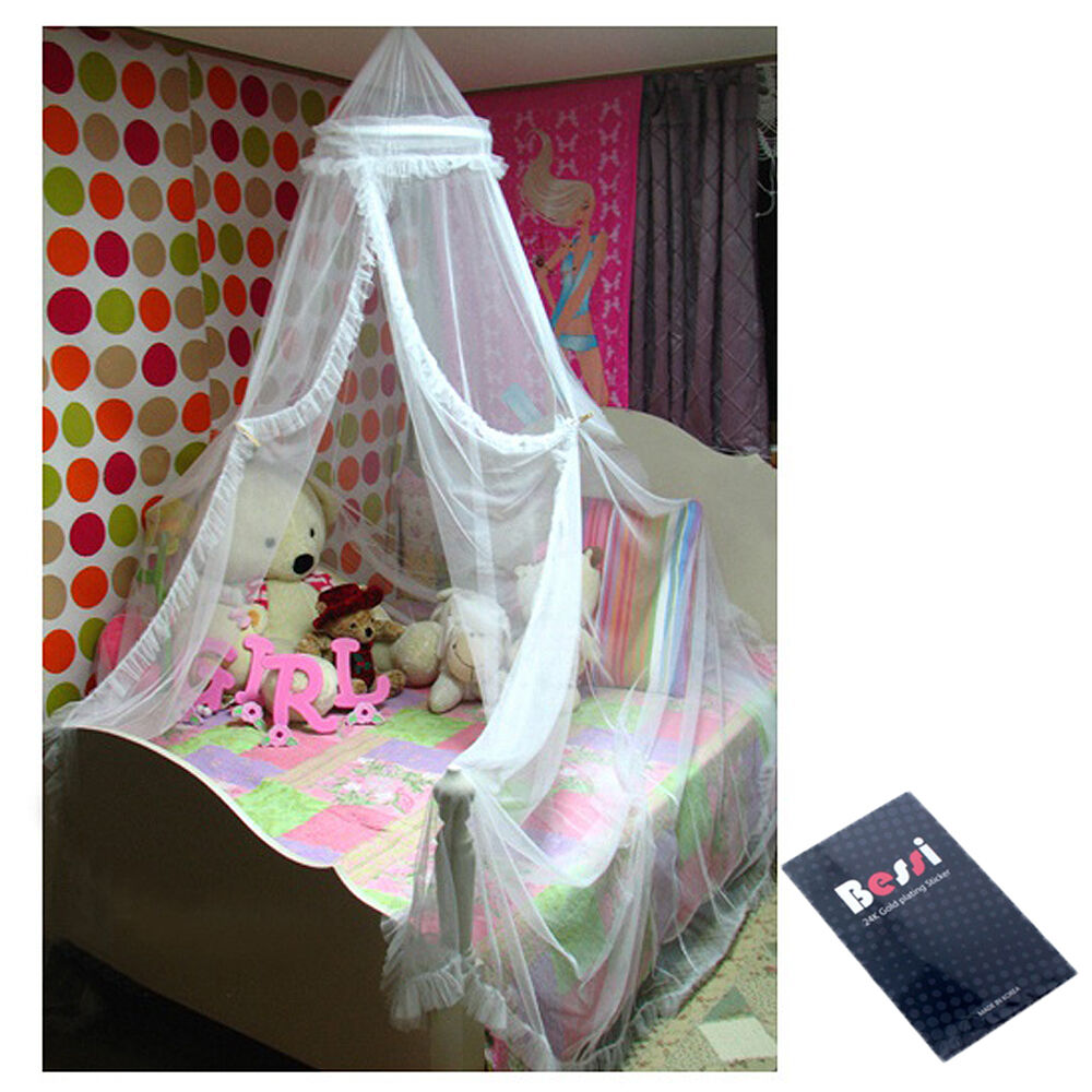 Hoop bed canopy white mosquito net netting bed mosquito for Bed with mosquito net decoration