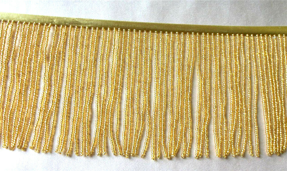 "Bright Gold 4"" beaded fringe trim, dance, pillows. #414 