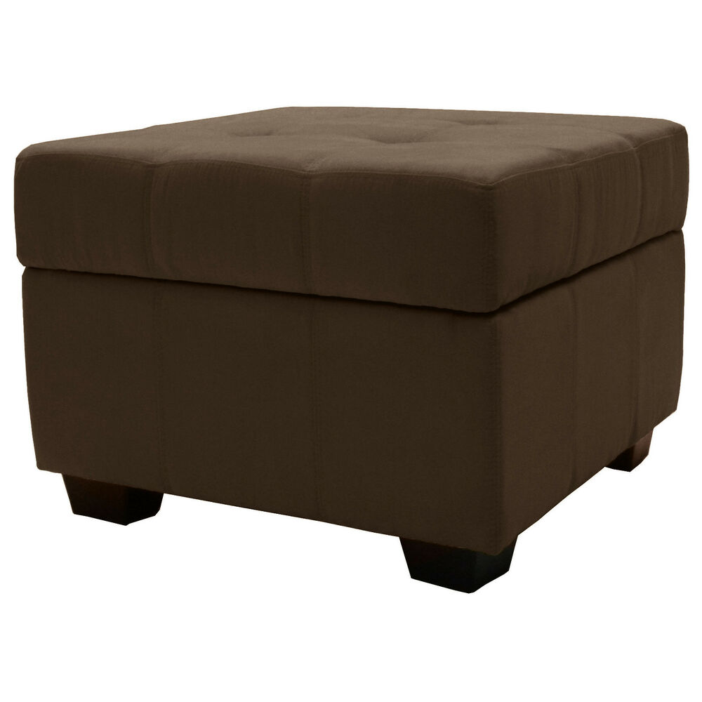 Storage Bench And Ottoman 24 Square Microfiber Suede Leather Choose Color Ebay