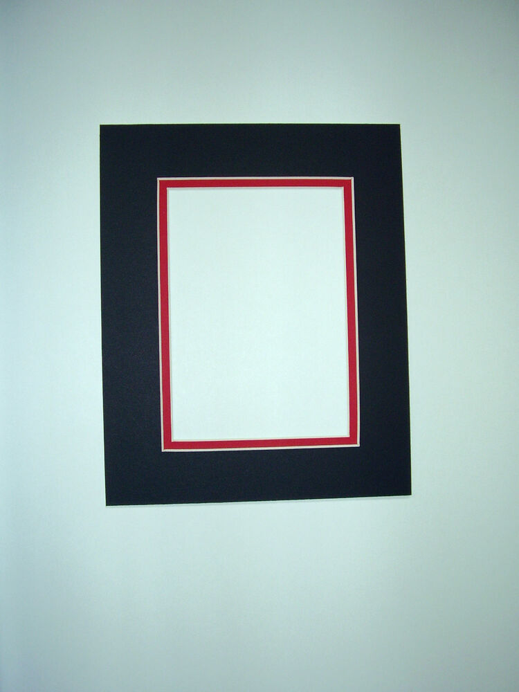 Picture Framing Double Mat 8x10 For 5x7 Photo Black With