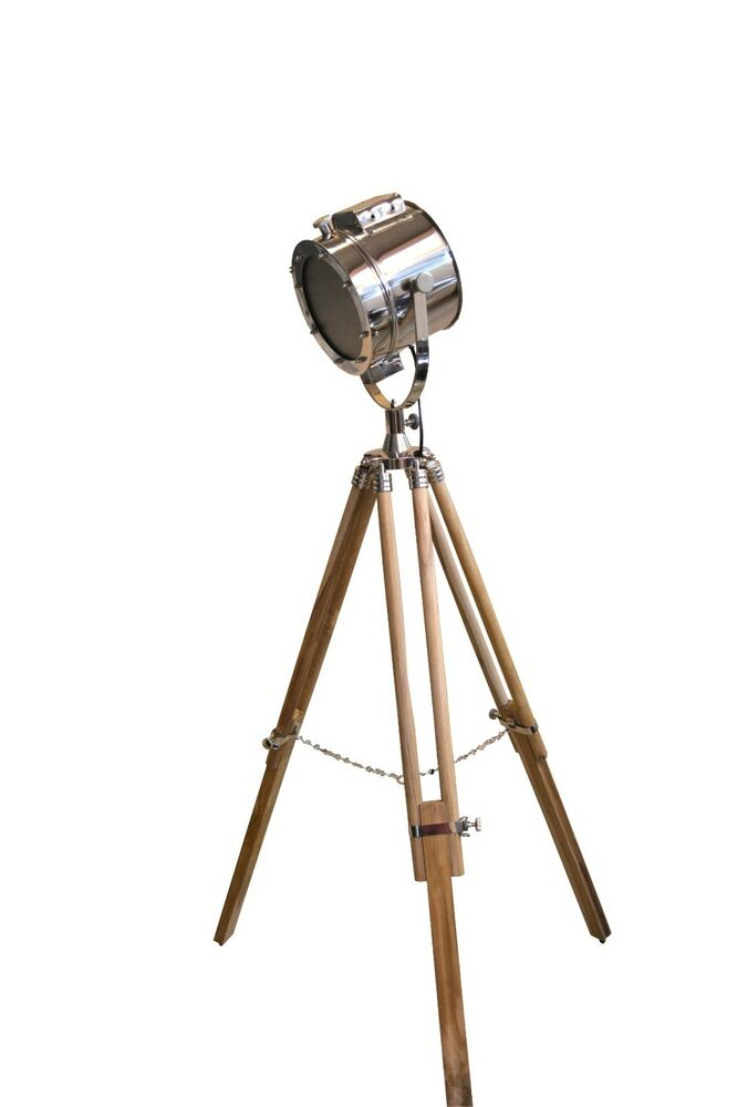Electric lamp floor searchlight with wood tripod stand for Winston studio spotlight floor lamp on tripod