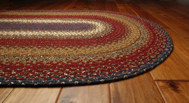 Homespice log cabin cotton braided area throw rug cottage for Throw rug on top of carpet